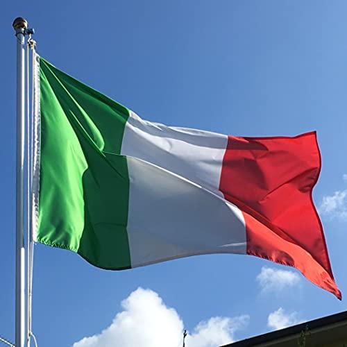 Bandiera ITALIA 100x150 cm in poliestere NAUTICO 115 gr/mq con doppia piega perimetrale, corda e guaina. Adatto sia IN/OUT DOOR