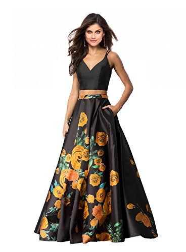 Lily Wedding Womens 2 Piece Floral Printed Prom Dresses 2018 Long Formal Evening Ball Gowns with Pockets GD32 Size 2 Orange