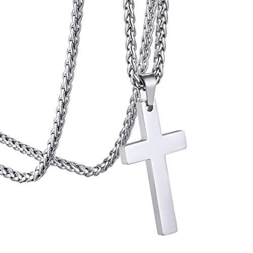 Goldchic-Jewelry Gepolijste Eenvoudige Effen Kruis Hanger Ketting, 316l Roestvrij Stalen Christelijke Jewelry Voor Mannen Vrouwen, 22 + 2 Inch Tarweketting