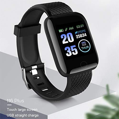 Bearcolo 116 Plus Smartwatch, waterdicht smart-polshorloge met kleurenscherm, activiteit bloeddruk, hartslagmeter, bluetooth, melding, alarm, reminder, pedometer
