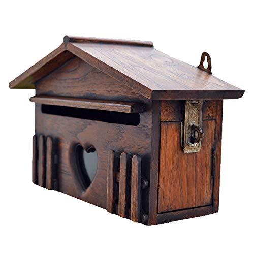 XCXDX An Der Wand Befestigter Hölzerner Briefkasten, Niedlicher Briefkasten In Hausform, Rustikaler Vintage-Briefkasten, Kunsthandwerk