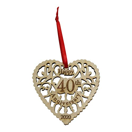 Twisted Anchor Trading Co Anniversary Ornament 2020 - Heart Shaped Happy Anniversary Ornament - Beautiful Laser Cut Wood Detail - Comes in a Pretty Organza Gift Bag so it's Ready to give (40th)