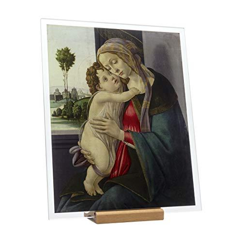 KORBAN - Cuadro moderno de doble cara Sandro Botticelli - Virgen y niño, colección Fenice. Reproducción de cuadro Famoso, impresión sobre cristal HD (20 x 16 cm)