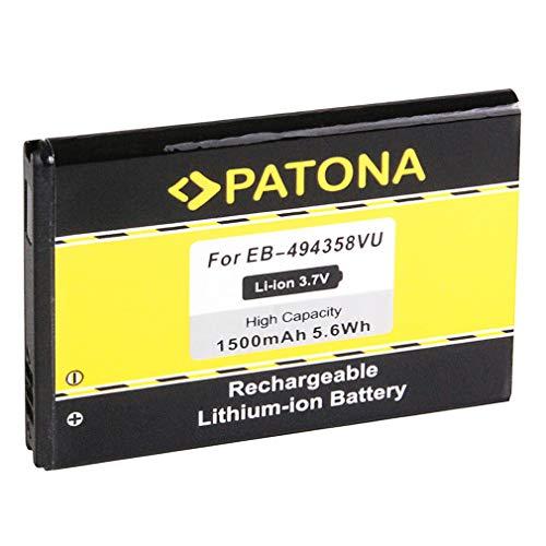 PATONA Batería EB-494358VU Para Samsung CC I569 I579 S5660 Galaxy Gio S5670 Fit S5830 Ace S5838 S6010 Music S6102 Y DuoS S6310 Young S6312 DuoS S6500 Mini 2 S6802 Ace DuoS S7250 Wave M S7500 Ace Plus