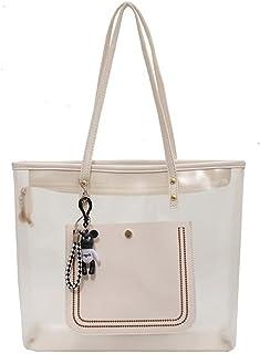 JJH Frauen niedliche Umhängetasche mit Reißverschluss, Damen Handtasche Mädchen Tragetaschen mit Bär Anhänger Ornament Zi...