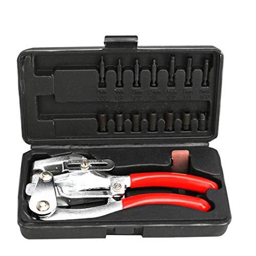 EElabper Perforadora alicates Herramienta de Mano de múltiples Funciones de Acero de Perforaciones Alicates Kit para reparación Decorativa 16PCS Rojo