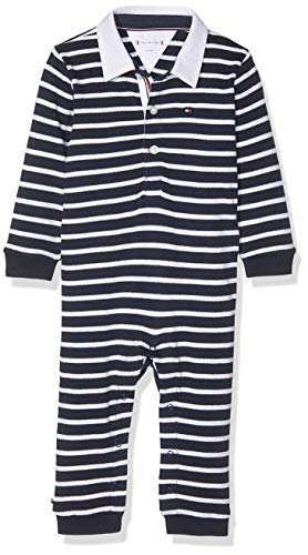 Tommy Hilfiger Baby-Jungen Rugby Stripe Coverall L/S Formender Body, Blau (Black Iris 002), (Herstellergröße:56)