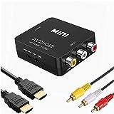 RCA to HDMI変換コンバーター コンポジットをHDMIに変換アダプタ AV to HDMI変換器 音声転送 720/1080P切り替え HDMIケーブル付 RCAケーブル付 USB給電ケーブル付