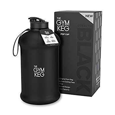 The Gym Keg Sports Water Bottle 2.2 L Insulated | Half Gallon | Carry Handle | Big Water Jug For Sport | Large Reusable Water Bottles | Ecofriendly, Tritan BPA Free Plastic, Leakproof (Stealth Black))