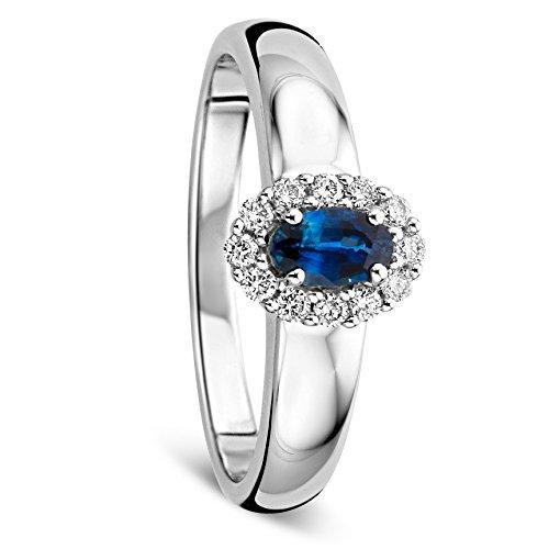 Orovi Mujer 9 k (375) oro blanco 9 quilates (375) bala HI azul Diamond