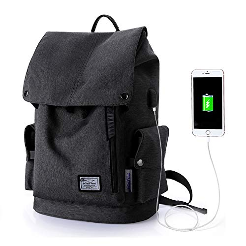 Wind Took Casual Backpack with USB Charging Port for 15.4-Inch Laptop and Notebook, Water-Repellent Rucksack for Women, Men Students Daypack for Travel, Business, College, Black, 30 x 17 x 45 cm