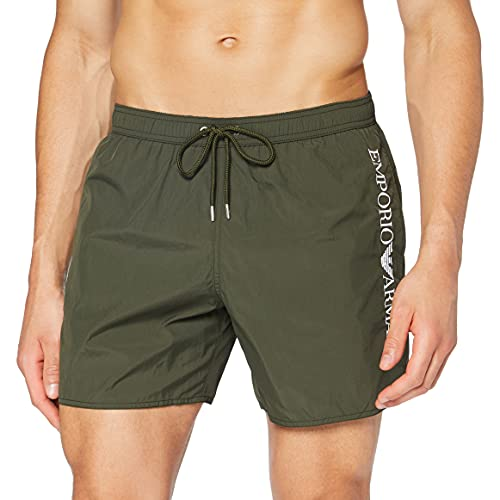 Emporio Armani Swimwear Boxer Embroidery Logo Costume da Bagno, Verde Militare (Olive), 46 Uomo