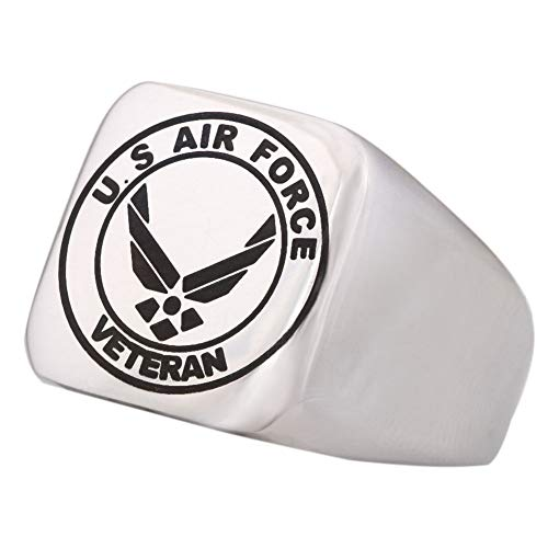Dacai Well Polished Engraved United States Air Force Veteran Military Mens Logo Stainless Steel Ring