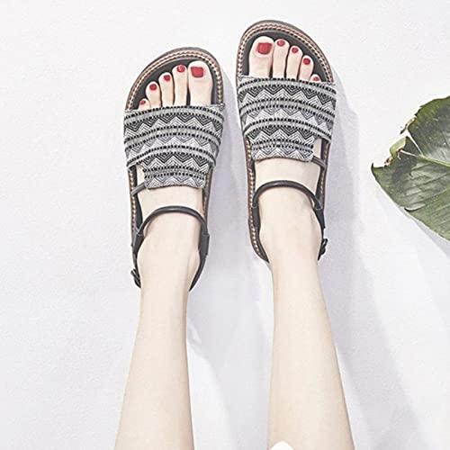 DZQQ Sandales Style Romain Femmes 2021 été Nouveau rétro Semelle épaisse personnalité de la Mode Sandales Plates
