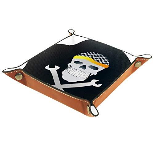 HOHOHAHA Cool Totenkopf Valet Tablett zur Aufbewahrung, PU-Leder Schmuck Nachttisch Snap Schnalle Design Würfel Halter Organizer Uhr Münzgeld Schlüssel Schmuck Valet Tray, Mehrfarbig01, 20.5x20.5cm