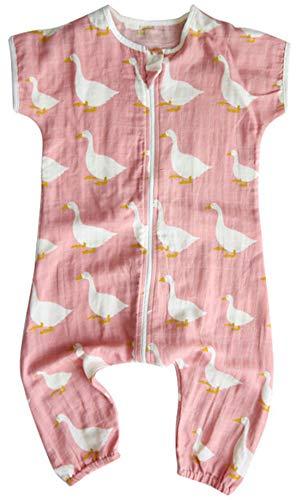 Chilsuessy Baby Sommer Schlafsack mit Füßen Kurzarm Kinder Sommerschlafsack Kinderschlafsack Pyjamas Overall Schlafanzug 100% Baumwolle, Rosa Schwan, 80/Baby Hoehe 75-85cm