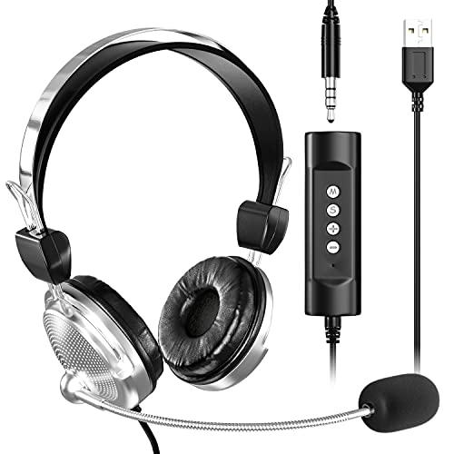 Newaner Zestaw słuchawkowy do komputera z mikrofonem, USB / jack 3,5 mm z redukcją szumów, przewodowe słuchawki komputerowe,biznesowy, zestaw słuchawkowy do Skypea, seminarium internetowe, szkoła