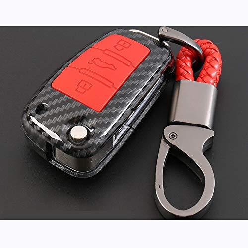 para Audi A3 8L 8P A4 B6 B7 B8 A6 C5 C6 4F RS3 Q3 Q7 TT 8L 8V S3, Carcasa de Fibra de Carbono Car-Styling Auto Protection Key Shell Cover