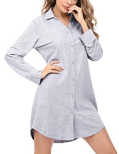 Doaraha Damen Nachthemd Langarm Baumwolle Knopfleiste Durchgehend, V-Neck Boyfriend Sleepshirt Nachtkleid Kurz, Schlafshirt Nachtwäsche für Frauen