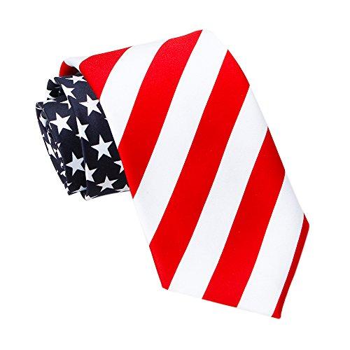 Amzcoice American Flag Necktie USA Flag US Patriotic Neck Tie