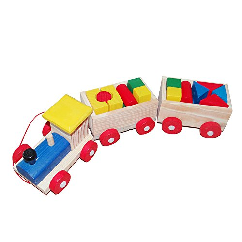 MiluoTech Wooden Building Blocks with 3 Connected Vehicle Towing Toys for Preschool, Pre-Kindergarten Children and Toddlers