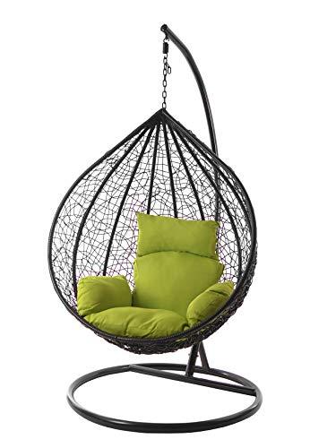 Kideo Komplettset: XXL Hängesessel mit Gestell & Kissen, Lounge Möbel, Poly-Rattan, schwarz, edel, groß (Kissen: Nest grün (6068 applegreen))
