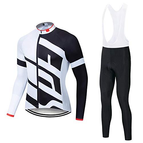 SSQXF Conjunto de Jersey de Ciclismo de Lana para Unisex, Manga Larga, Invierno, cálido, térmico, a Prueba de Viento, Bicicleta, Babero, Pantalones, Ropa de Bicicleta-UN_L