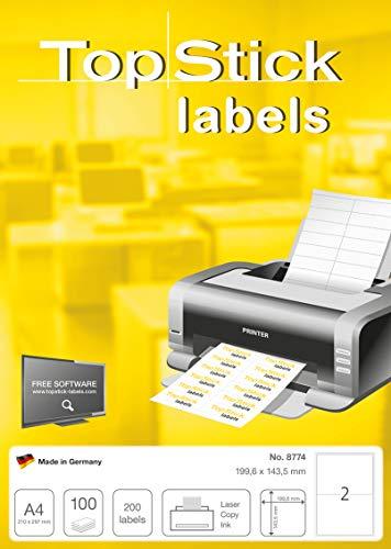 Preisvergleich Produktbild TopStick 8774 Universal Etiketten DIN A4 (199,6 x 143,5 mm,  100 Blatt,  Papier,  matt) selbstklebend,  bedruckbar,  permanent haftend Adressaufkleber,  200 Versandetiketten