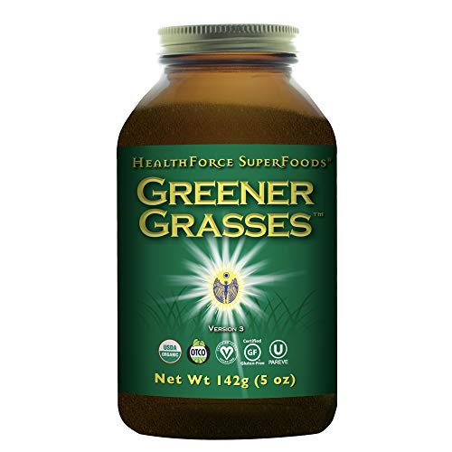 HealthForce SuperFoods Greener Grasses Alkalizer Powder - 5 oz - Vegan Greens Powder, Superfood Complex, Great Source of Fiber, Promotes Healthy Gut - Gluten Free, Organic - 35 Servings