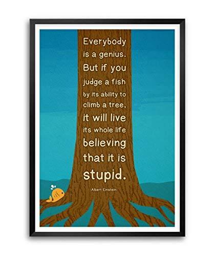 LAB NO 4 Everybody is a Genius Albert Einstein Motivational Quote Framed Poster in (11 X 14) Size
