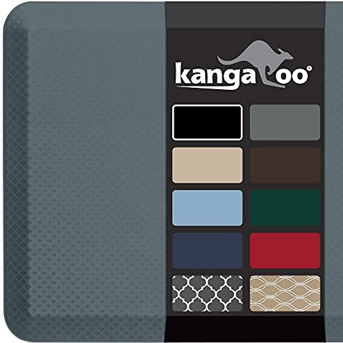 Kangaroo 3/4 Inch Thick Superior Cushion, Stain Resistant Kitchen Rug and Anti Fatigue Cushioned Foam Comfort Floor Padding, Office Stand Up Desk Mats, Washable Standing Decor Mat, 20x32, Charcoal