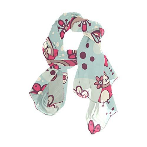 MALPLENA Happy Pink Birds chales de gasa y pañuelos bufandas para mujer