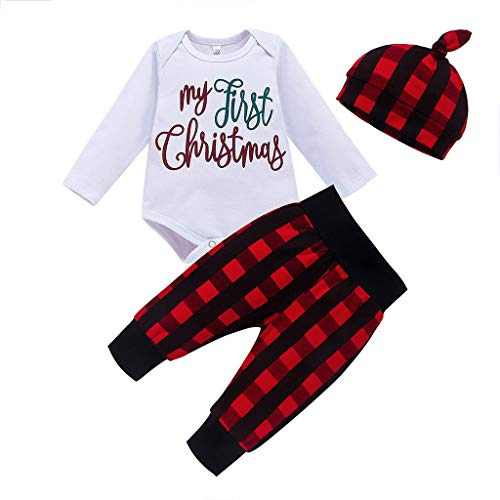 Hui.Hui Ensemble Garçon Fille Bébé pour 3-24 Mois, Noël Ensemble Imprimé Lettre Haut Longues Manches Vêtements et Plaid Pantalons Chapeau Tenues de Costume Hiver
