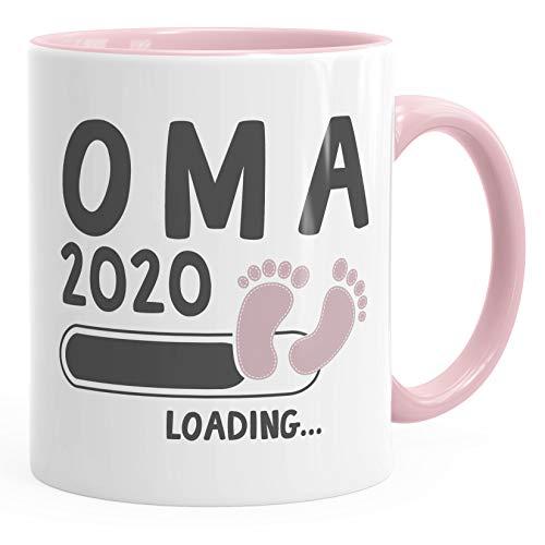 Kaffee-Tasse Oma 2020 loading Geschenk-Tasse für werdende Oma Schwangerschaft Geburt Baby Tee-Tasse MoonWorks® rosa unisize