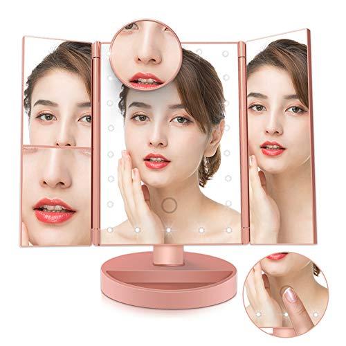 Espejo de Maquillaje Iluminado de Tres Pliegues, Aumento 2X / 3X / 10X, Atenuación de la Pantalla Táctil, Fuente de Alimentación dual, Espejo Iluminado Portátil de alta Definición