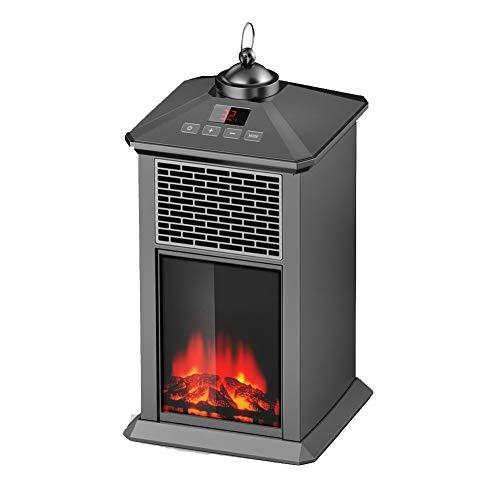 CIJK Calentador eléctrico para chimenea, estufa, calentadores portátiles para el hogar con efecto de llama 3D, termostato remoto, 400 W (negro)