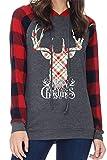 SLYZ Otoño Camiseta De Mujer De Manga Larga con Estampado De Alces Y Letras Navideñas De Gran Tamaño para Mujer