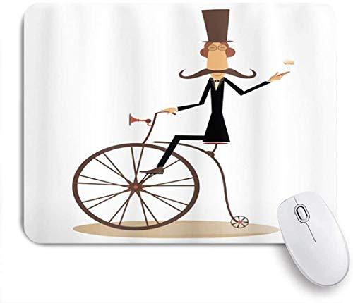Gaming Mouse Pad rutschfeste Gummibasis, Gentleman mit Schnurrbart Zylinder Hut Regenschirm Retro Fahrrad und Rauchen einer Zigarre, für Computer Laptop Office Desk