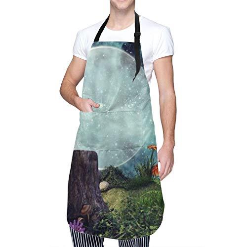 COFEIYISI verstellbare Küchenschürzen,Mondfee Sternenhimmel Fantasie Nachtblumen Pflanzen Baumstumpf,Grillschürze,latzschürze,Küchenschürze für Frauen Männer