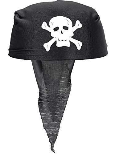 COCOCITY Pirat Bandana Schwarz Pirat Kapitän Kopftuch Kostüm Piratenhut für Pirat Thema, Halloween Karneval Kinder Party