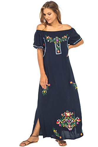 Back From Bali Womens Long Mexican Embroidered Dress, Maxi Long Summer Peasant Dresses for Women Off The Shoulder Navy X-Large