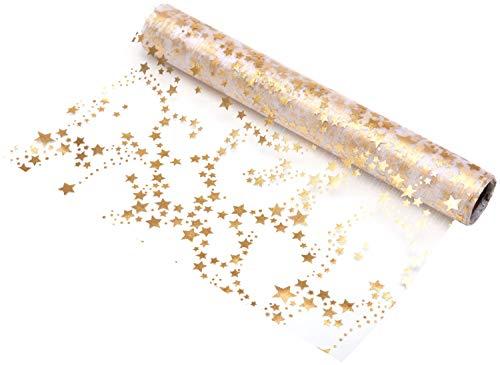 100%Mosel Tischläufer Sterne, in Gold/Metallic (28 cm x 5 m), Tischband aus Organza, edle Tischdeko für Weihnachten & Adventszeit, Festliche Dekoration zu besonderen Anlässen
