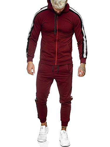 Code47 | Herren Trainingsanzug | Jogginganzug | Sportanzug | Jogging Anzug | Hoodie-Sporthose | Jogging-Anzug | Trainings-Anzug | Jogging-Hose | Modell JG-1084 Bordeaux-Schwarz XXL