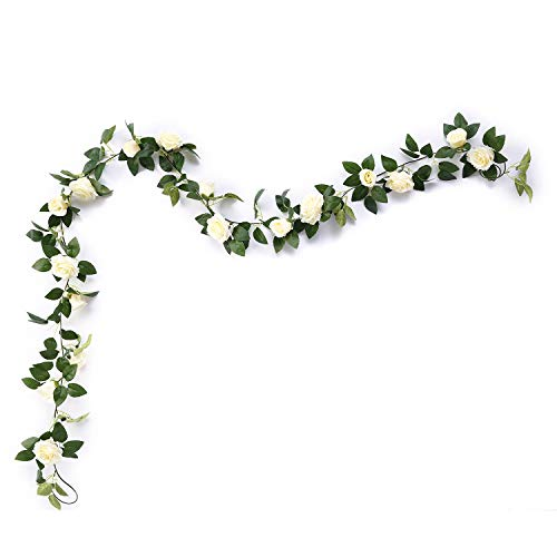 MEHELANY Artificial Rose Vine Flowers with Green Leaves 7.5ft Fake Silk Rose Hanging Vine Flowers Garland Ivy Plants for Home Wedding Party Garden Wall Decoration (Cream) …