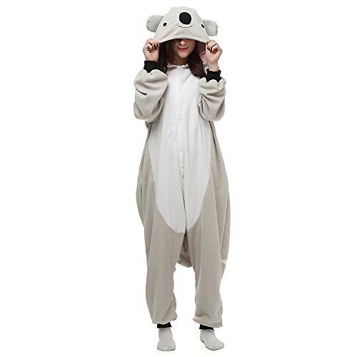 Männer Frauen Unisex Kigurumi Koala Halloween Kostüm Anime Tier Cosplay Hoodie Onesie Pyjamas Karikatur Partei Halloween Nachtwäsche Schlafanzug, Lty54grey, XL(179cm-188cm)