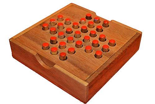Solitaire Box small Reisespiel Solitär Steckhalma Steckerspiel Knobelholz Denkspiel Knobelspiel Geduldspiel für einen Spieler