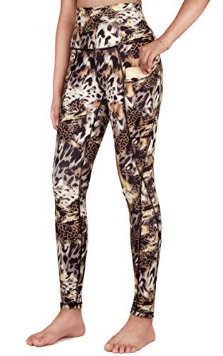 Free Leaper Leggings Sportivi a Vita Alta da Donna Pantaloni Lungo da Yoga Leggins a Fantasia a Stampa Tigre con Tasche (Tigre Stampato, S)
