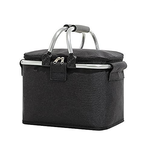 Noete Bolsa isotérmica pequeña para pícnic, con bolsa aislante, bolsa isotérmica para el almuerzo, plegable, para camping, exterior, viajes y viajes en coche (negro)