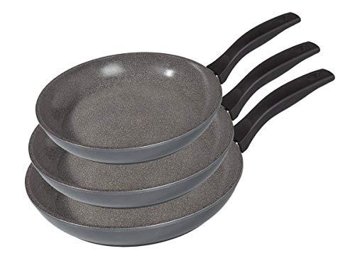 STONELINE® Pfannen-Set, 3-teilig, Ø 16/20/24 cm, induktionsgeeignet, Aluguss, Antihaftbeschichtung mit echten Steinpartikeln
