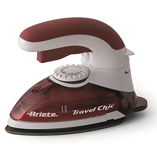 Ariete 6224 Plancha de Viaje Plegable Travel Chic, 800 W, Sistema de Sujeción Patentado para Plancado Verticual, Voltaje Dual, Acero Inoxidable, Rojo